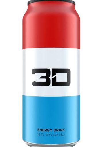 3D ENERGY DRINK 12/16oz RED WHITE AND BLUE