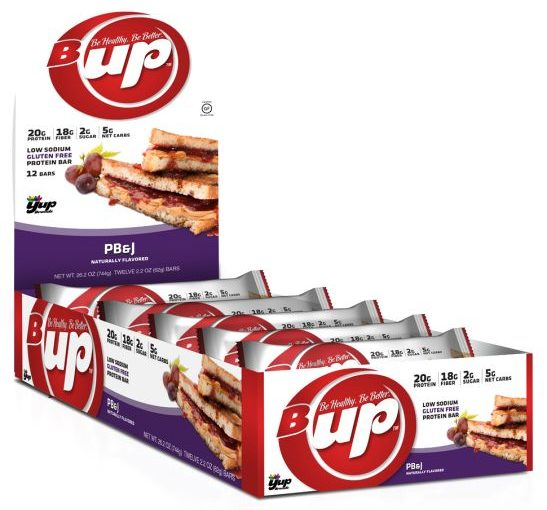 YUP B-UP PROTEIN BAR 12/2.2oz PEANUT BUTTER & JELLY